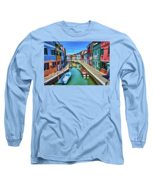 Picturesque Buildings And Boats In Burano Long Sleeve T-Shirt