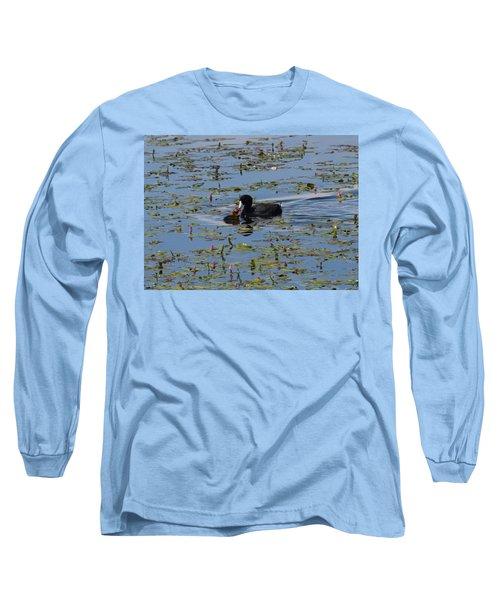 Pied Billed Grebe Lake John Swa Co Long Sleeve T-Shirt