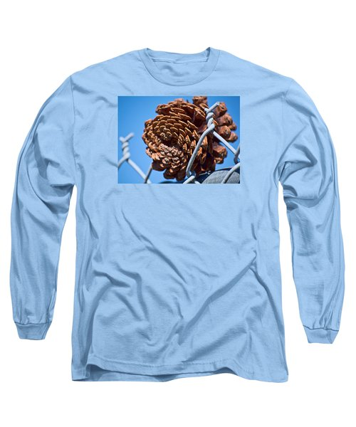 Pine Cone On The Fence Long Sleeve T-Shirt by Cathy Jourdan