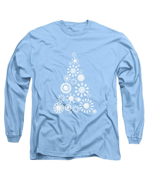 Pine Tree Snowflakes - Baby Blue Long Sleeve T-Shirt
