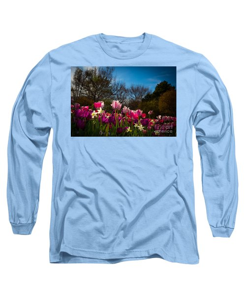 Pink And Purple Tulips Long Sleeve T-Shirt by John Roberts