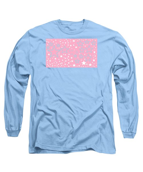 Pink And Turquoise Stars 1 Long Sleeve T-Shirt by Linda Velasquez