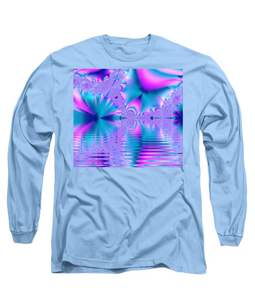 Pink, Blue And Turquoise Fractal Lake Long Sleeve T-Shirt