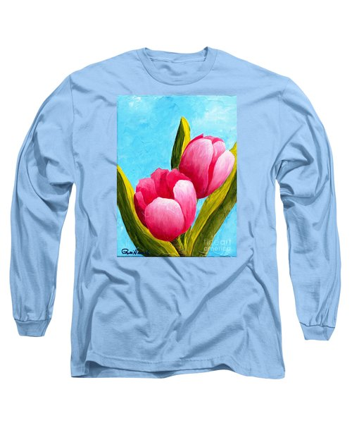 Pink Bubblegum Tulips I Long Sleeve T-Shirt by Phyllis Howard