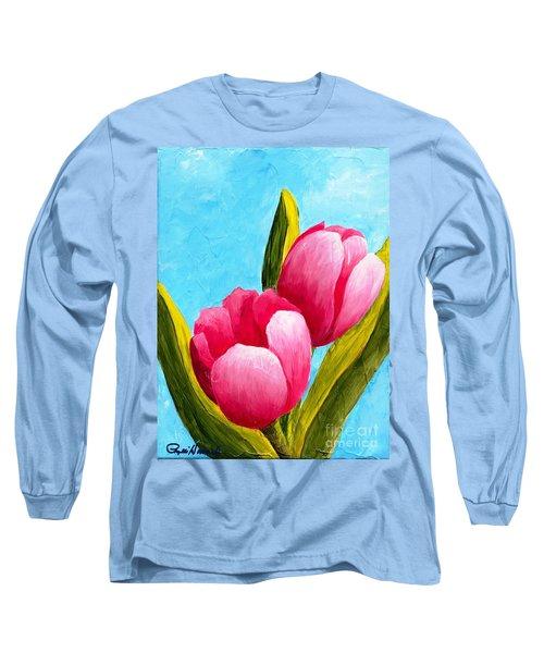 Pink Bubblegum Tulips I Long Sleeve T-Shirt