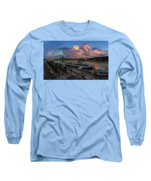 Pink Clouds Above The Danube, Budapest Long Sleeve T-Shirt