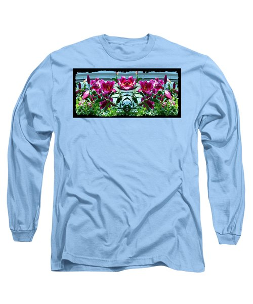 Pink Lilies Fusion Long Sleeve T-Shirt by Will Borden