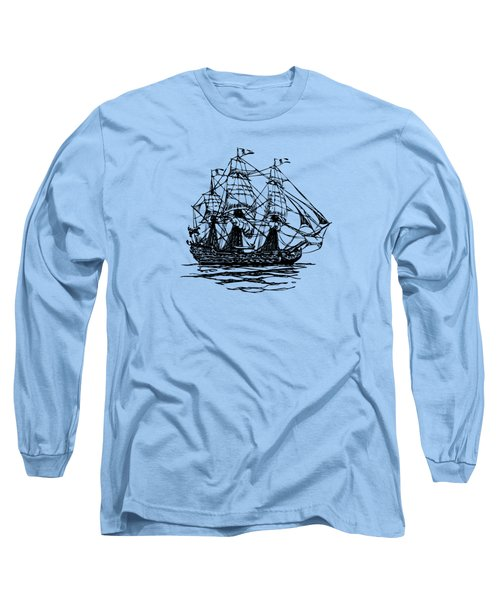 Pirate Ship Artwork - Vintage Long Sleeve T-Shirt