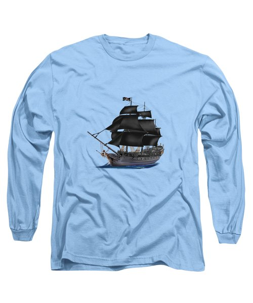 Pirate Ship At Sunset Long Sleeve T-Shirt by Glenn Holbrook