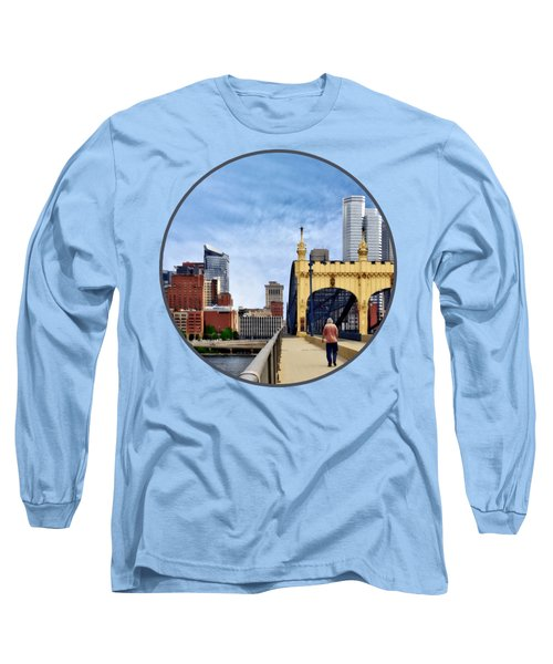 Pittsburgh Pa - Crossing The Smithfield Street Bridge Long Sleeve T-Shirt by Susan Savad