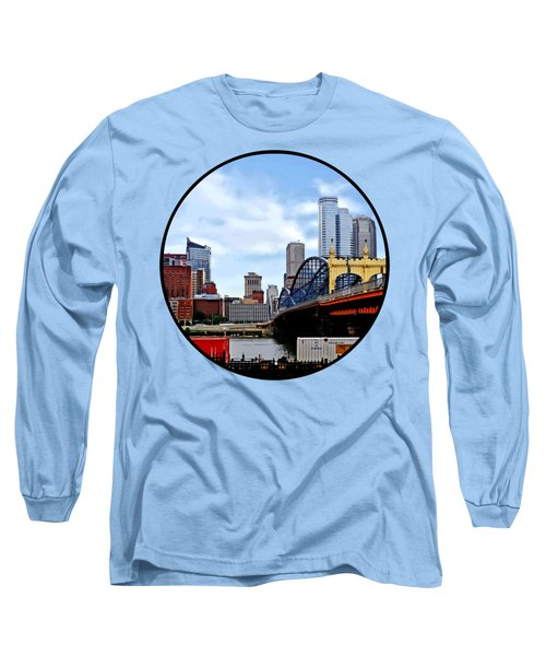 Pittsburgh Pa - Train By Smithfield St Bridge Long Sleeve T-Shirt by Susan Savad