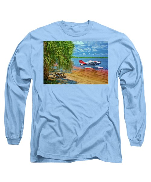 Long Sleeve T-Shirt featuring the photograph Plane On The Lake by Lewis Mann