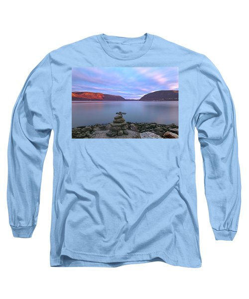 Plum  Point Rock Cairn At Sunset Long Sleeve T-Shirt by Angelo Marcialis