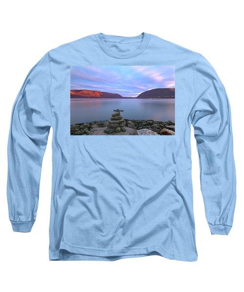 Plum  Point Rock Cairn At Sunset Long Sleeve T-Shirt