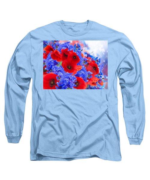 Poppy And Cornflower Flowers Long Sleeve T-Shirt