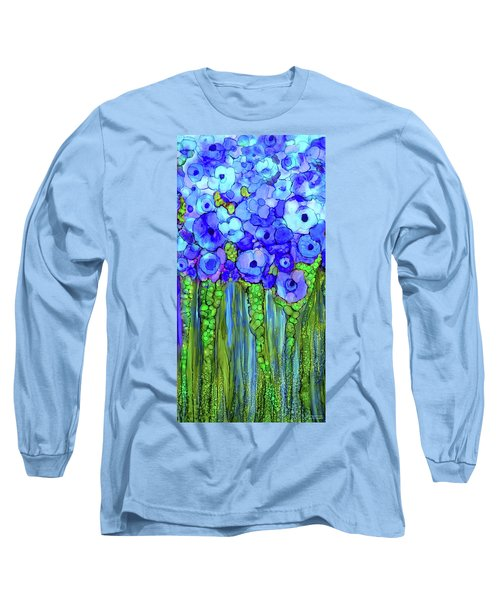 Long Sleeve T-Shirt featuring the mixed media Poppy Bloomies 2 - Blue by Carol Cavalaris