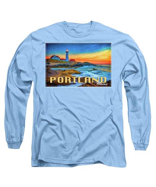 Portland Head Lighthouse Vintage Travel Poster Long Sleeve T-Shirt