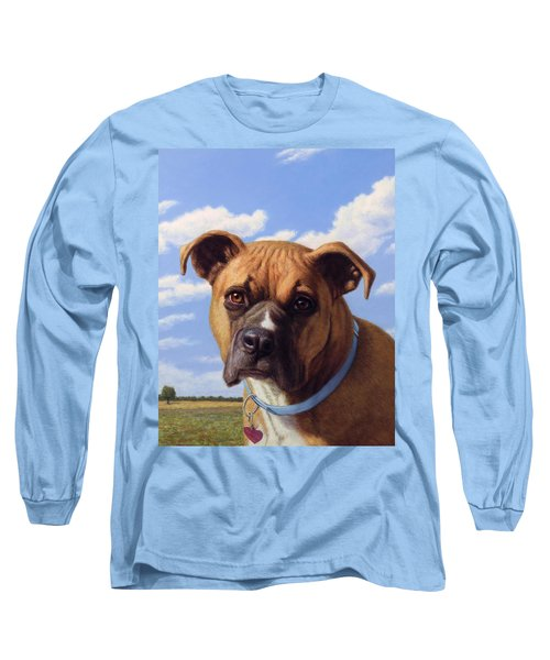 Long Sleeve T-Shirt featuring the painting Portrait Of A Sweet Boxer by James W Johnson