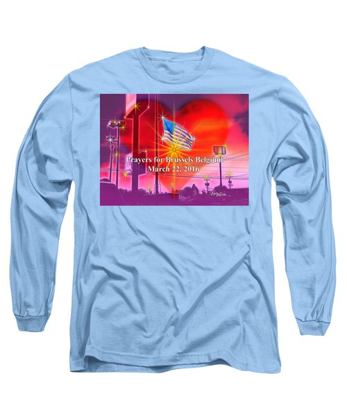 Prayers For Brussels #9726_4 Long Sleeve T-Shirt by Barbara Tristan