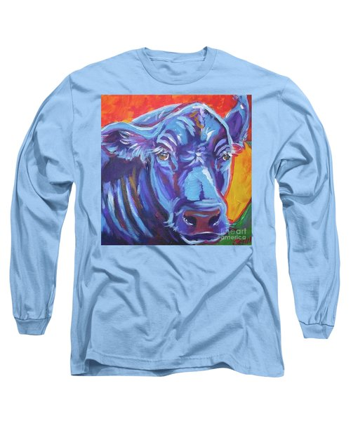 Long Sleeve T-Shirt featuring the painting Pretty Face Cow by Jenn Cunningham