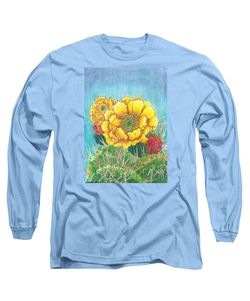 Long Sleeve T-Shirt featuring the drawing Prickly Pear Cactus Flowering by Dawn Senior-Trask