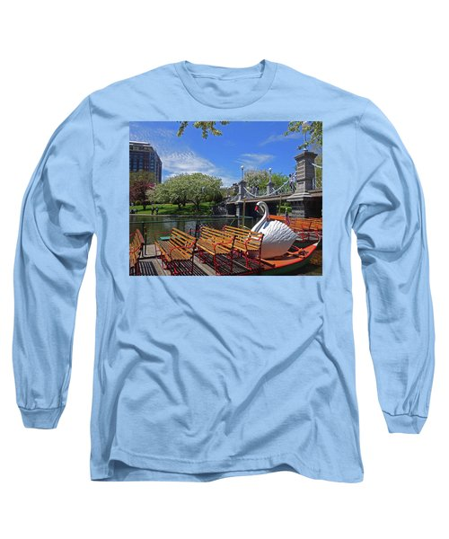 Public Garden Swan Boat In The Spring Boston Ma Long Sleeve T-Shirt