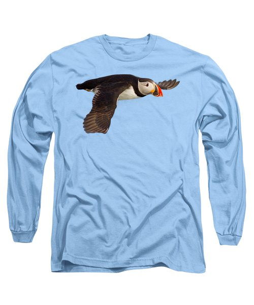 Puffin In Flight T-shirt Long Sleeve T-Shirt by Tony Mills