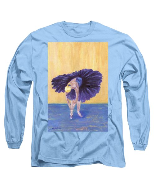 Long Sleeve T-Shirt featuring the painting Purple Ballerina by Jamie Frier