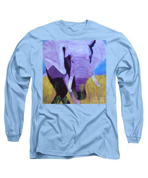 Purple Elephant Long Sleeve T-Shirt by Donald J Ryker III