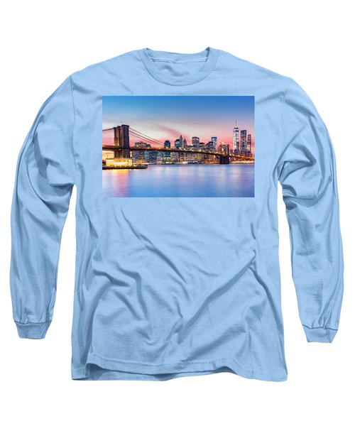 Purple Nyc Sunset Long Sleeve T-Shirt