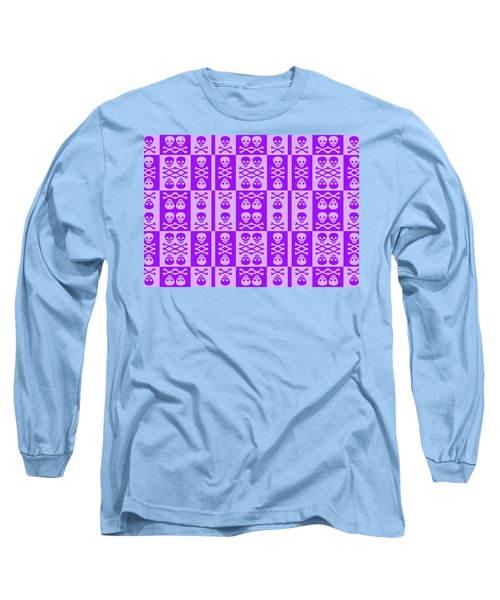 Purple Skull And Crossbones Pattern Long Sleeve T-Shirt by Roseanne Jones