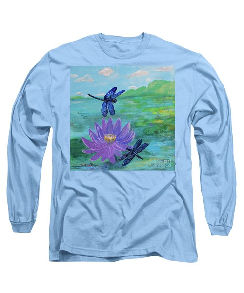 Purple Water Lily And Dragonflies Long Sleeve T-Shirt