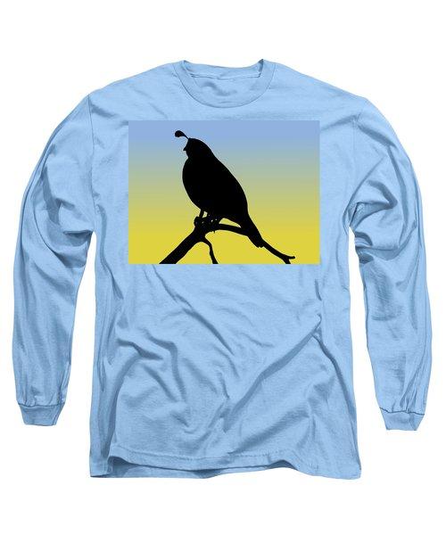 Quail Silhouette At Sunrise Long Sleeve T-Shirt
