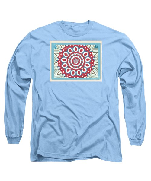 Long Sleeve T-Shirt featuring the photograph Quilted Red White Circles by Shirley Moravec
