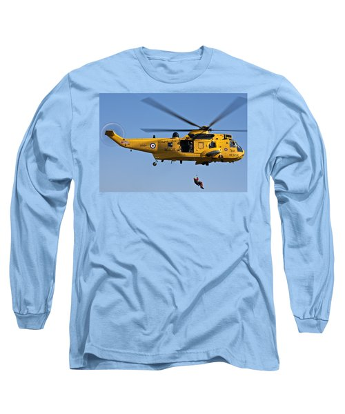 Raf Sea King Search And Rescue Helicopter 2 Long Sleeve T-Shirt by Steve Purnell