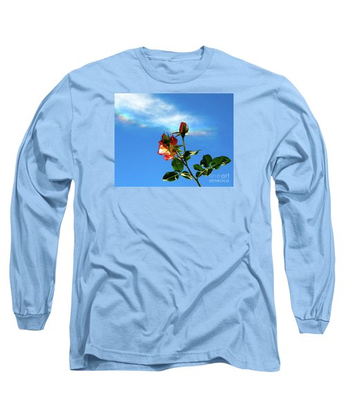 Rainbow Cloud And Sunlit Roses Long Sleeve T-Shirt by CML Brown