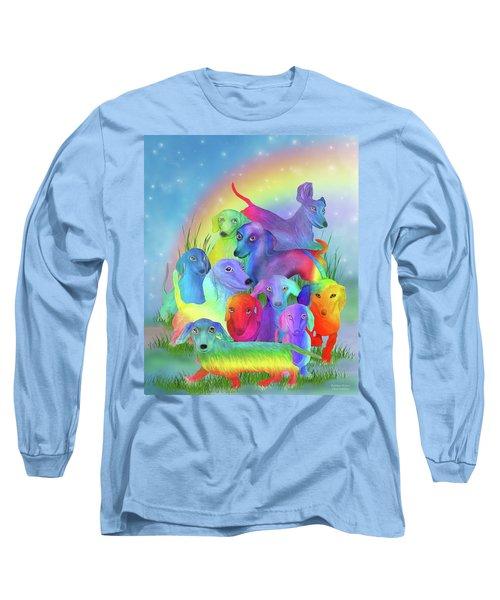 Long Sleeve T-Shirt featuring the mixed media Rainbow Dachshunds 1 by Carol Cavalaris