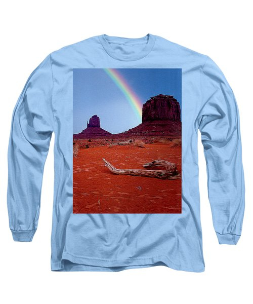 Rainbow In Monument Valley Arizona Long Sleeve T-Shirt by Merton Allen
