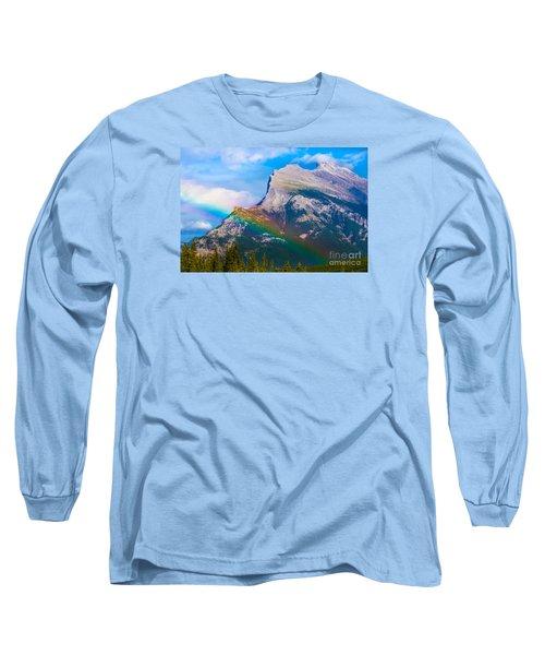 Rainbow On Mt Rundle Long Sleeve T-Shirt by John Roberts