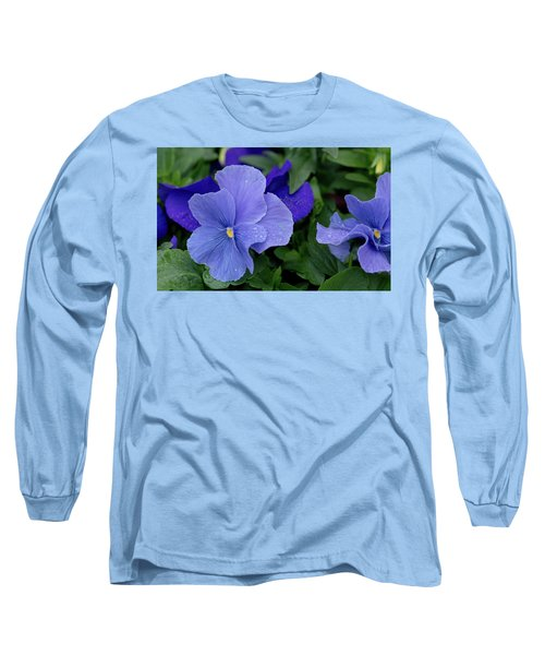 Raindrops On Purple Pansy Long Sleeve T-Shirt