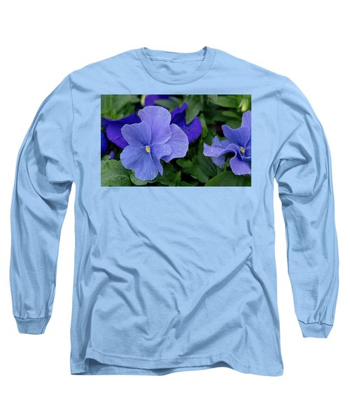 Raindrops On Purple Pansy Long Sleeve T-Shirt