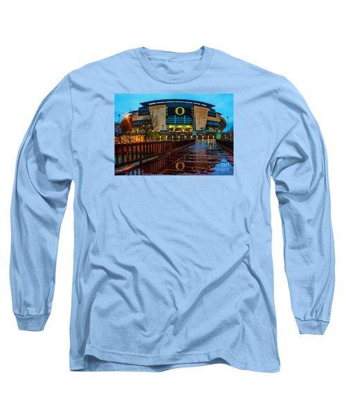Rainy Autzen Stadium Long Sleeve T-Shirt by Michael Cross