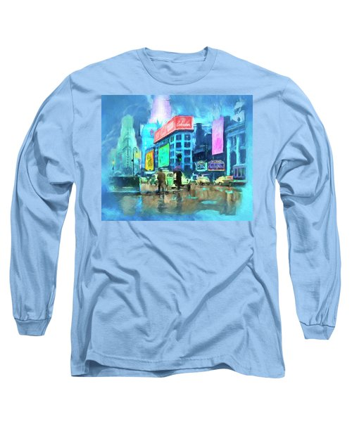 Rainy Night In New York Long Sleeve T-Shirt by Michael Cleere
