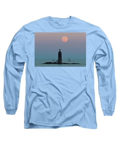 Ram Island Light Buck Moon And Sailboat Long Sleeve T-Shirt