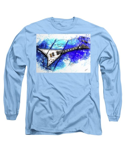 Randy's Guitar On Blue II Long Sleeve T-Shirt by Gary Bodnar