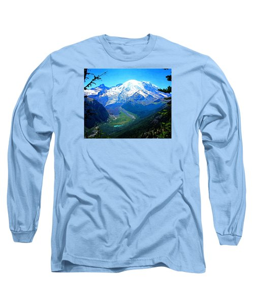 Ranier And Little Tahoma Long Sleeve T-Shirt by Timothy Bulone