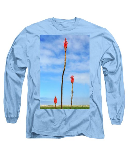 Long Sleeve T-Shirt featuring the photograph Red Hot Pokers by James Eddy