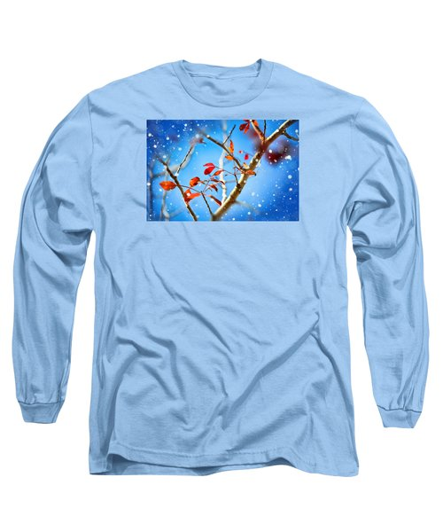 Red Leaves On Blue Background Long Sleeve T-Shirt