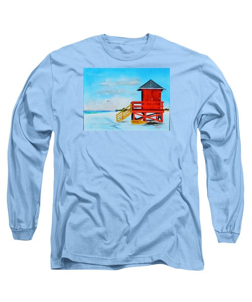 Red Life Guard Shack On The Key Long Sleeve T-Shirt by Lloyd Dobson