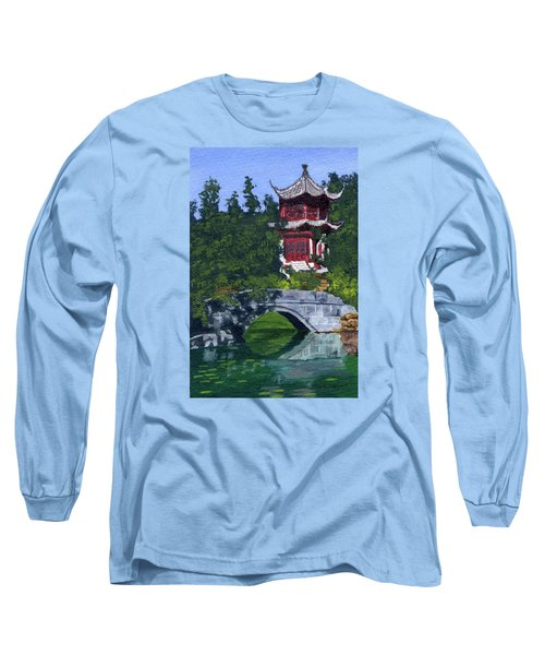 Long Sleeve T-Shirt featuring the painting Red Pagoda by Lynne Reichhart